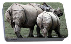 Rhinoceros Mother And Calf In Wild Portable Battery Charger by Daniel Hagerman