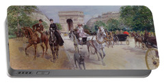Riders And Carriages On The Avenue Du Bois Portable Battery Charger by Georges Stein