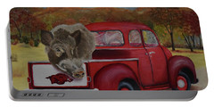 Ridin' With Razorbacks Portable Battery Charger by Belinda Nagy