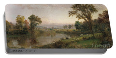 Riverscape In Early Autumn Portable Battery Charger by Jasper Francis Cropsey