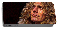 Robert Plant Led Zeppelin Portable Battery Charger by Marvin Blaine