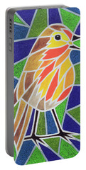 Robin On Stained Glass Portable Battery Charger by Pat Scott