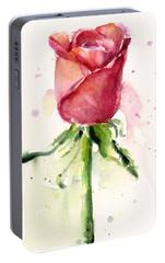 Rose Watercolor Portable Battery Charger by Olga Shvartsur