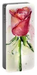 Rose Watercolor Portable Battery Charger by Olga Shvartsur