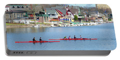 Rowing Along The Schuylkill River Portable Battery Charger by Bill Cannon