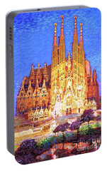 Sagrada Familia At Night Portable Battery Charger by Jane Small