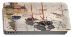 Sailboats On The Seine Portable Battery Charger by Claude Monet