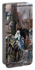 Saint Joseph Seeks Lodging In Bethlehem Portable Battery Charger by Tissot