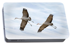 Sandhill Crane Approach Portable Battery Charger by Mike Dawson