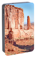 Portable Battery Charger featuring the photograph Sandstone Butte And Canyon Floor, Arches National Park, Moab, Ut by A Gurmankin