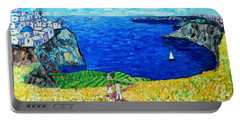 Santorini Honeymoon Portable Battery Charger by Ana Maria Edulescu