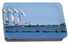 Schooner On Lake Michigan No. 1 Portable Battery Charger by Sandy Taylor