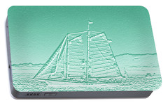 Schooner On New York Harbor No. 3-3 Portable Battery Charger by Sandy Taylor