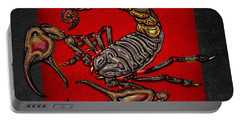Scorpion On Red And Black  Portable Battery Charger by Serge Averbukh