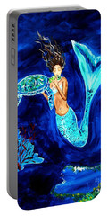 Sea Turtle Kiss Portable Battery Charger by Leslie Allen