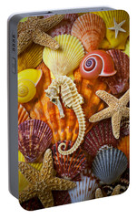 Seahorse And Assorted Sea Shells Portable Battery Charger by Garry Gay