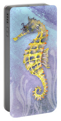 Seahorse Blue Portable Battery Charger by Amy Kirkpatrick