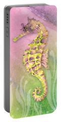 Seahorse Violet Portable Battery Charger by Amy Kirkpatrick