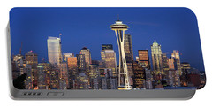 Seattle At Dusk Portable Battery Charger by Adam Romanowicz