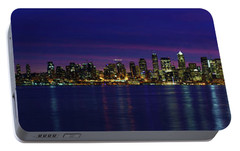 Seattle Cityscape Sunrise Panorama Light Portable Battery Charger by Mike Reid