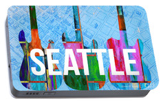 Seattle Music Scene Portable Battery Charger by Edward Fielding