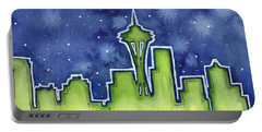 Seattle Night Sky Watercolor Portable Battery Charger by Olga Shvartsur