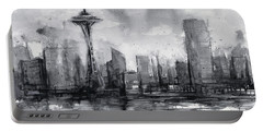 Seattle Skyline Painting Watercolor  Portable Battery Charger by Olga Shvartsur