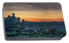 Seattle Skyline Sunrise Pano With A Lenticular Cloud On Rainier Portable Battery Charger by Mike Reid
