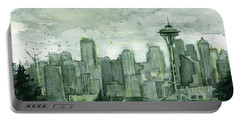 Seattle Skyline Watercolor Space Needle Portable Battery Charger by Olga Shvartsur