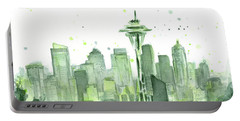 Seattle Watercolor Portable Battery Charger by Olga Shvartsur