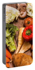 Selection Of Fresh Vegetables On A Rustic Table Portable Battery Charger by Jorgo Photography - Wall Art Gallery