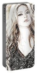 Shakira - Pencil Art Portable Battery Charger by Raina Shah