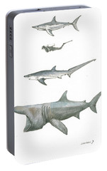 Sharks In The Deep Ocean Portable Battery Charger by Juan Bosco