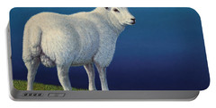 Sheep At The Edge Portable Battery Charger by James W Johnson