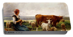 Shepherdess With Cows And Goats Portable Battery Charger by Julien Dupre