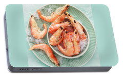 Shrimp On A Plate Portable Battery Charger by Anfisa Kameneva