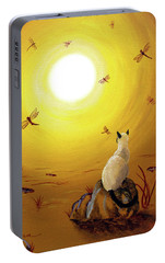 Siamese Cat With Red Dragonflies Portable Battery Charger by Laura Iverson