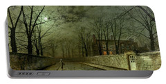 Silver Moonlight Portable Battery Charger by John Atkinson Grimshaw