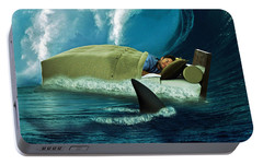 Sleeping With Sharks Portable Battery Charger by Marian Voicu