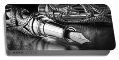 Snake Pen In Black And White Portable Battery Charger by Tom Mc Nemar