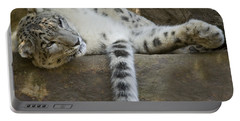 Snow Leopard Nap Portable Battery Charger by Mike  Dawson