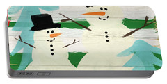 Snowmen With Blue Trees- Art By Linda Woods Portable Battery Charger by Linda Woods