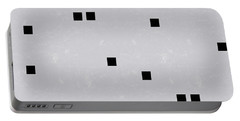 Sophisticated Decor Pattern, Black Square Confetti, Grey Linen Texture Portable Battery Charger by Tina Lavoie