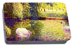 Swans, Soul Mates Portable Battery Charger by Jane Small
