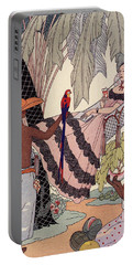 Spanish Lady In Hammock With Parrot Portable Battery Charger by Georges Barbier