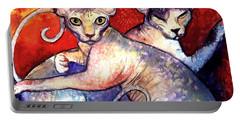 Sphynx Cats Sphinx Family Painting  Portable Battery Charger by Svetlana Novikova