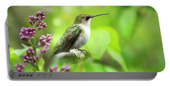 Spring Beauty Ruby Throat Hummingbird Portable Battery Charger by Christina Rollo
