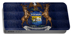 State Of Michigan Flag Recycled Vintage License Plate Art Version 1 Portable Battery Charger by Design Turnpike