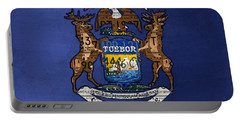 State Of Michigan Flag Recycled Vintage License Plate Art Version 2 Portable Battery Charger by Design Turnpike