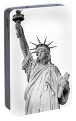 Statue Of Liberty, Black And White Portable Battery Charger by Sandy Taylor